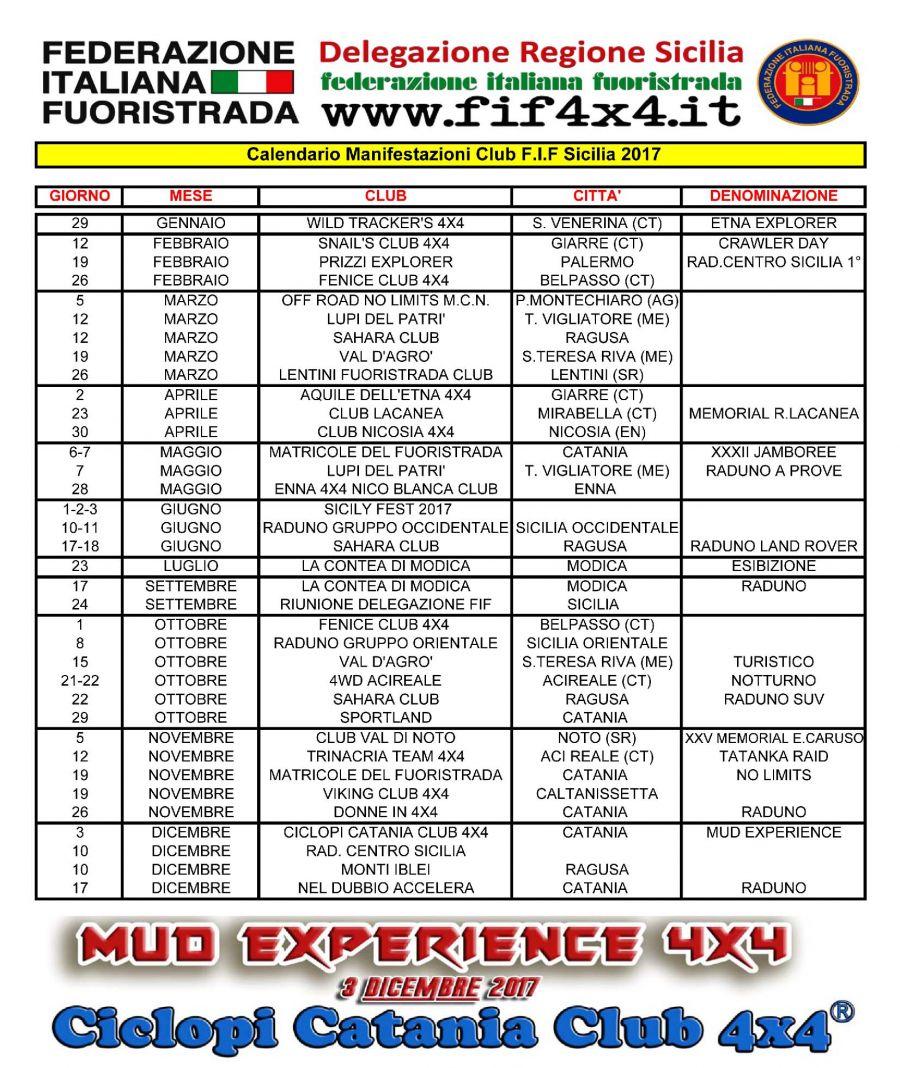 Calendario Regionale Sicilia.Sicilia Calendario Raduni 2017 Ciclopi Catania Club 4x4